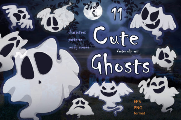 Cute Ghosts. Halloween Characters Collec Graphic Illustrations By Maycat