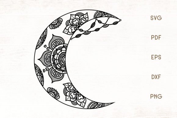 Print on Demand: Floral Crescent Moon Graphic Crafts By Dasagani