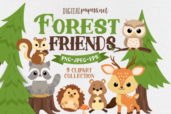 Print on Demand: Forest Friends Clipart Set Graphic Illustrations By DigitalPapers