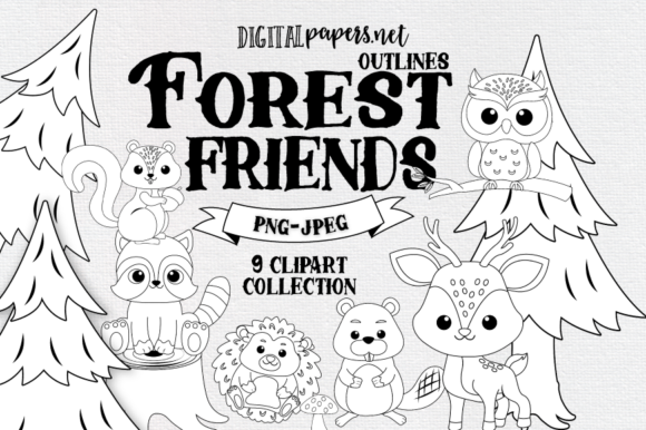 Print on Demand: Forest Friends Outlines Clipart Graphic Illustrations By DigitalPapers