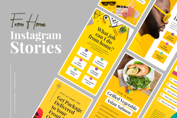 Print on Demand: From Home Instagram Stories Graphic UX and UI Kits By peterdraw