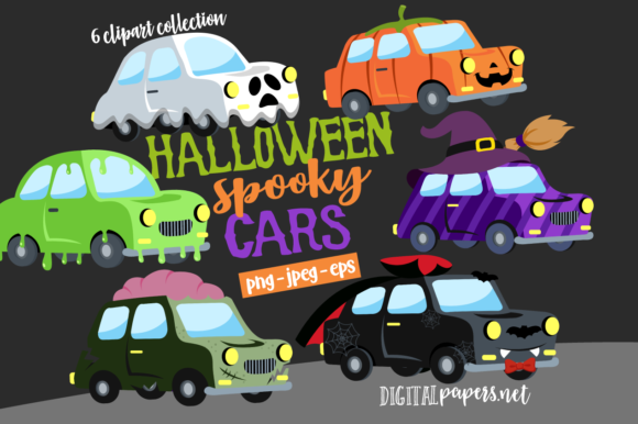 Print on Demand: Halloween Cars Parade Clipart Set Graphic Illustrations By DigitalPapers