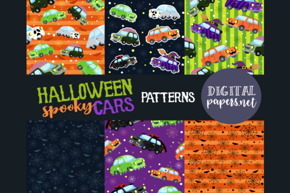 Print on Demand: Halloween Cars Patterns, JPEG & PNG Graphic Illustrations By DigitalPapers
