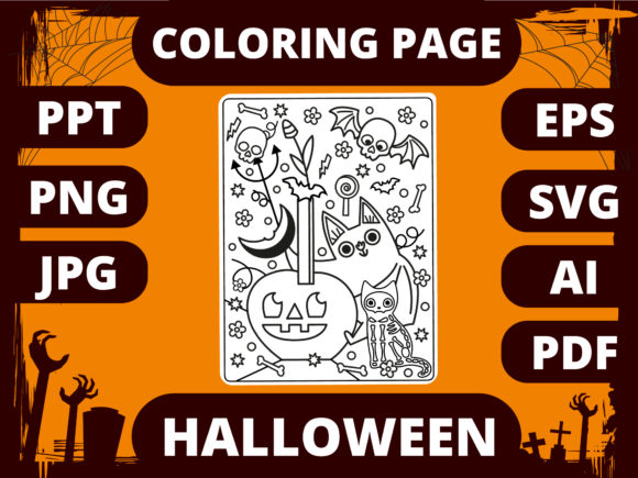 Print on Demand: Halloween Coloring Page for Kids #1 Graphic Coloring Pages & Books Kids By MikeToon Studio