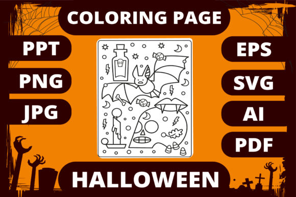 Print on Demand: Halloween Coloring Page for Kids #10 Graphic Coloring Pages & Books Kids By MikeToon Studio