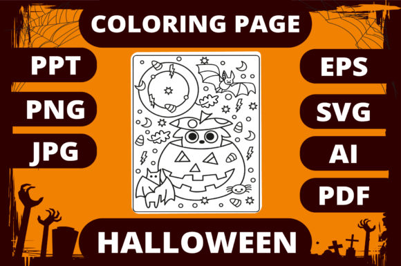 Print on Demand: Halloween Coloring Page for Kids #11 Graphic Coloring Pages & Books Kids By MikeToon Studio