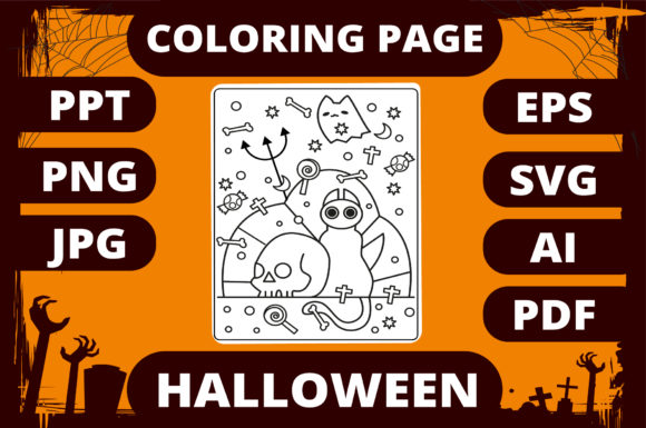 Print on Demand: Halloween Coloring Page for Kids #12 Graphic Coloring Pages & Books Kids By MikeToon Studio