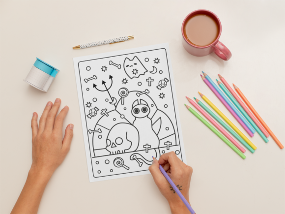 Halloween Coloring Page for Kids #12 Graphic Download