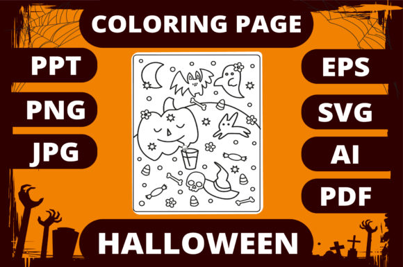 Print on Demand: Halloween Coloring Page for Kids #13 Graphic Coloring Pages & Books Kids By MikeToon Studio
