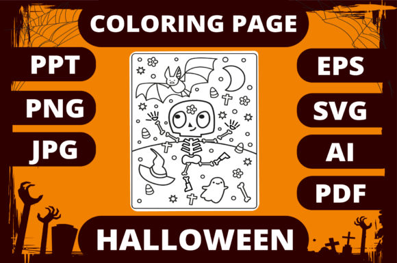 Print on Demand: Halloween Coloring Page for Kids #14 Graphic Coloring Pages & Books Kids By MikeToon Studio