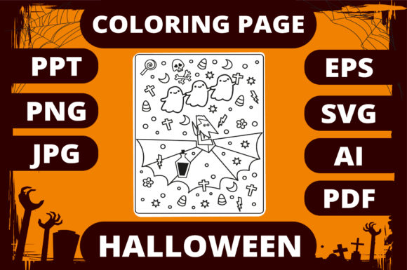 Print on Demand: Halloween Coloring Page for Kids #15 Gráfico Libros para colorear - Niños Por MikeToon Studio