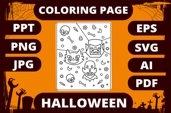 Print on Demand: Halloween Coloring Page for Kids #16 Graphic Coloring Pages & Books Kids By MikeToon Studio