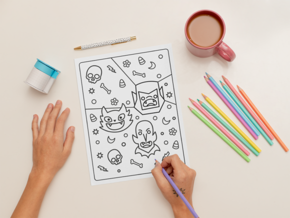 Halloween Coloring Page for Kids #16 Graphic Download