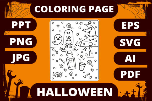 Halloween Coloring Page for Kids #19 Graphic