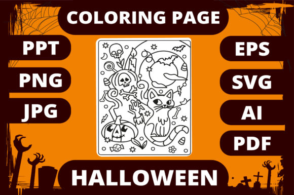 Print on Demand: Halloween Coloring Page for Kids #2 Graphic Coloring Pages & Books Kids By MikeToon Studio