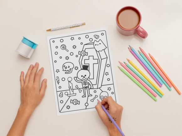 Halloween Coloring Page for Kids #20 Graphic Download