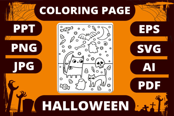 Print on Demand: Halloween Coloring Page for Kids #23 Graphic Coloring Pages & Books Kids By MikeToon Studio