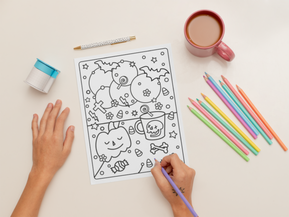Halloween Coloring Page for Kids #25 Graphic Download
