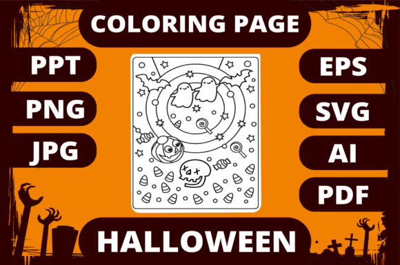Print on Demand: Halloween Coloring Page for Kids #26 Graphic Coloring Pages & Books Kids By MikeToon Studio