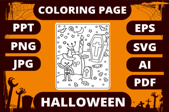 Print on Demand: Halloween Coloring Page for Kids #27 Graphic Coloring Pages & Books Kids By MikeToon Studio