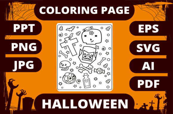 Print on Demand: Halloween Coloring Page for Kids #28 Graphic Coloring Pages & Books Kids By MikeToon Studio