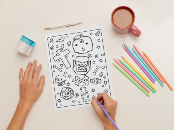 Halloween Coloring Page for Kids #28 Graphic Download