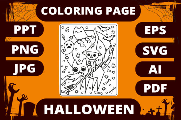 Print on Demand: Halloween Coloring Page for Kids #3 Graphic Coloring Pages & Books Kids By MikeToon Studio