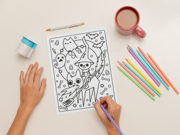 Halloween Coloring Page for Kids #3 Graphic Download
