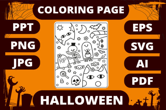 Print on Demand: Halloween Coloring Page for Kids #4 Graphic Coloring Pages & Books Kids By MikeToon Studio