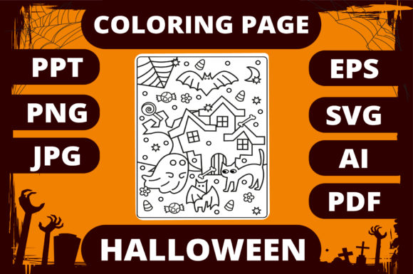 Print on Demand: Halloween Coloring Page for Kids #5 Graphic Coloring Pages & Books Kids By MikeToon Studio