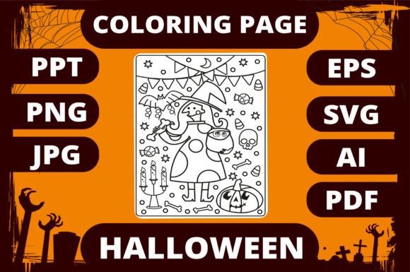 Print on Demand: Halloween Coloring Page for Kids #6 Graphic Coloring Pages & Books Kids By MikeToon Studio