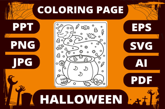 Print on Demand: Halloween Coloring Page for Kids #9 Graphic Coloring Pages & Books Kids By MikeToon Studio