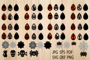 Print on Demand: Halloween Earrings, Earrings Template Graphic Crafts By yulnniya