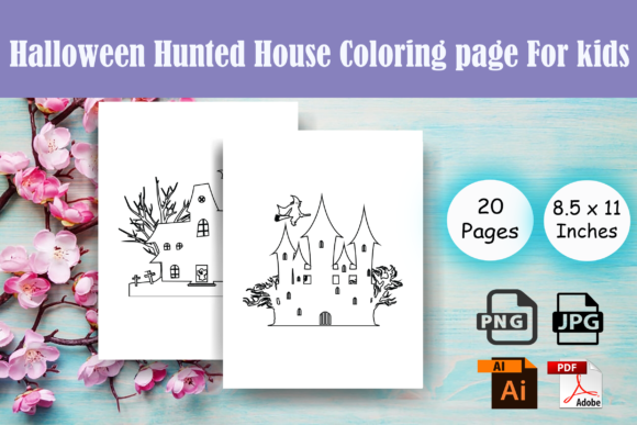 Print on Demand: Halloween Hunted House Coloring Page-KDP Graphic Coloring Pages & Books Kids By Sei Ripan