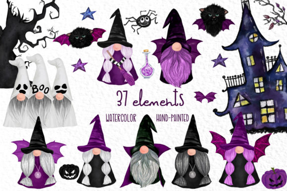 Halloween Gnomes Grafik Illustrationen von vivastarkids