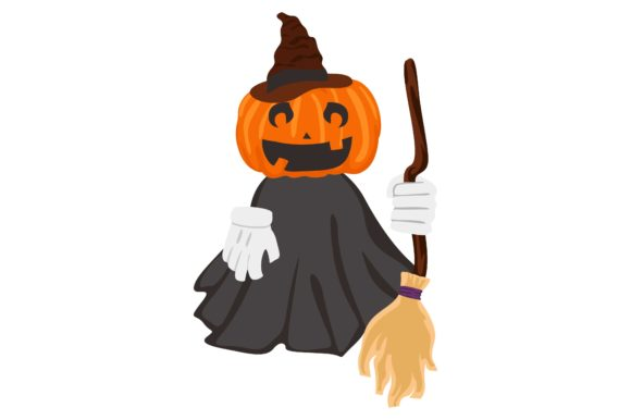 Print on Demand: Halloween Pumpkin Head Witch Graphic Crafts By Arief Sapta Adjie