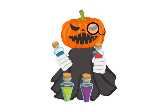 Print on Demand: Halloween Pumpkin Head Witch Potion Gráfico Crafts Por Arief Sapta Adjie