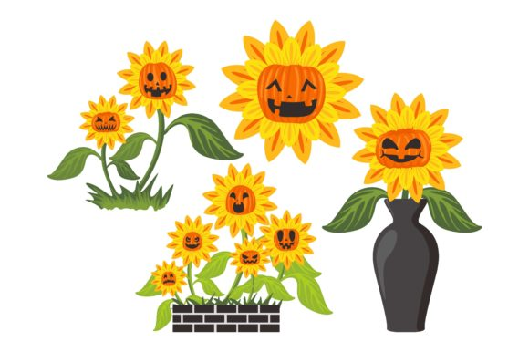 Print on Demand: Halloween Pumpkin Head Sunflower Set Graphic Crafts By Arief Sapta Adjie
