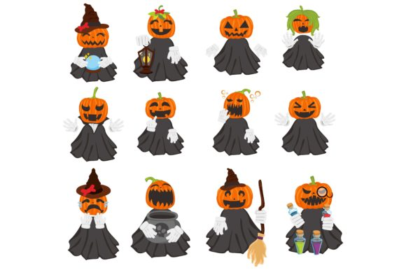 Print on Demand: Halloween Pumpkin Head Witch Set Bundle Graphic Crafts By Arief Sapta Adjie