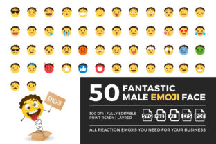 Print on Demand: Male Emoji Graphic Illustrations By OWPictures
