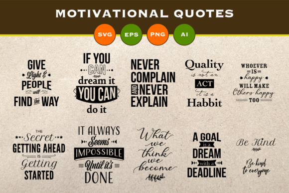Print on Demand: Motivational Quotes Bundle Graphic Illustrations By Pixtordesigns
