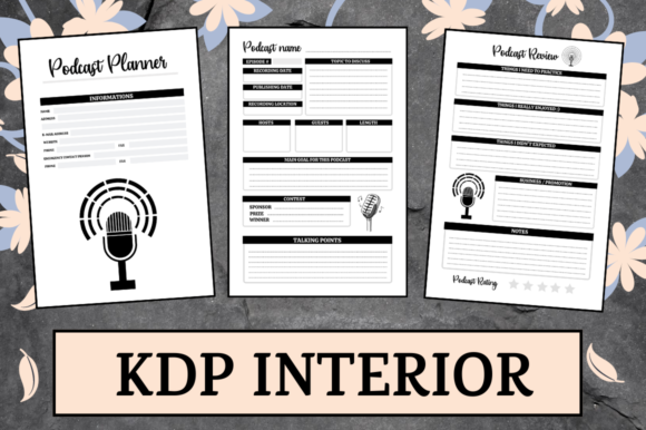 Print on Demand: Podcast Planner | KDP Interior Graphic KDP Interiors By KDP Mastermind