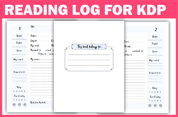 Print on Demand: Reading Log & Book Review Ready for KDP Graphic KDP Interiors By Fayne