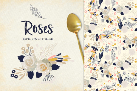 Print on Demand: Roses - Romantic Cliparts & Patterns Graphic Illustrations By webvilla