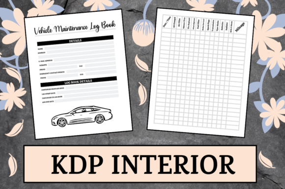 Print on Demand: Vehicle Maintenance Log | KDP Interior Graphic KDP Interiors By KDP Mastermind