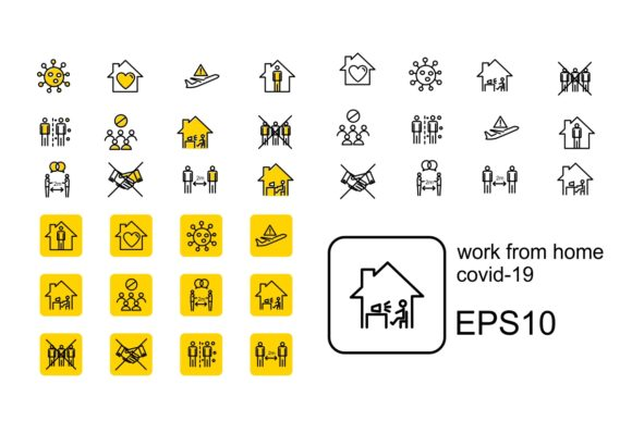 Print on Demand: Work from Home Icon Graphic Icons By Pidco.art
