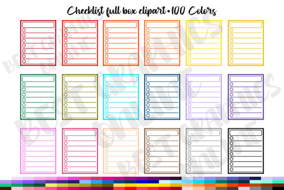 100 Blank Full Boxes Planner Clip Art Graphic Print Templates By bestgraphicsonline