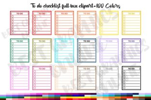 100 to Do List Full Box Planner Stickers Graphic Print Templates By bestgraphicsonline