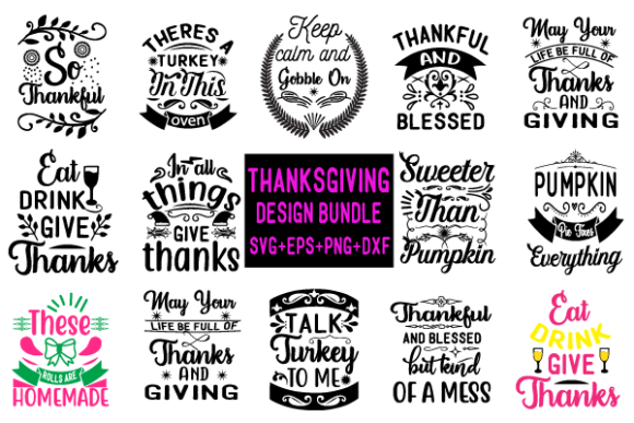 14 THANKSGIVING DESIGN BUNDLE Graphic Crafts By creative store.net