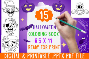 Print on Demand: 15 Halloween Coloring Book for Kids Graphic Coloring Pages & Books Kids By DesignsBundles